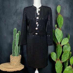 St. John Evening Collection Black Sequin Suit B385